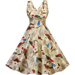 Poppy Bird Print Pin Up Dress