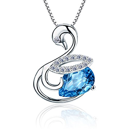 aiblii Swan Swarovski Pendant Necklace, Jewelry for Girls Women Graduation Gift by
