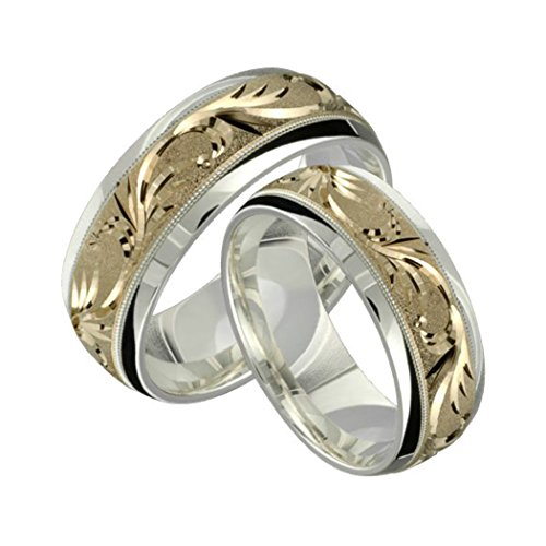 Alain Raphael 2 Tone Sterling Silver and 10k Yellow Gold 8 Millimeters Wide Wedding Band Ring Set Him and Her