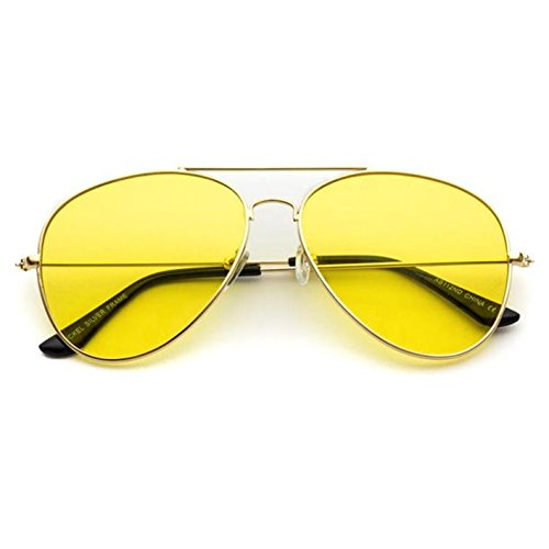Classic Aviator Style Metal Frame Sunglasses Colored Lens (Gold Frame/Yellow Tint, 59)