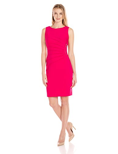Ivanka Trump Women's Ponte Sleeveless Side Ruched Starburst Dress, Cerise, 2