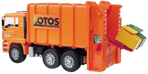 Bruder Toys MAN Garbage Truck rear loading orange