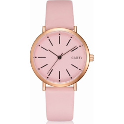GAIETY Women's Rose Gold Simple Leather Strap Dress Watch G536