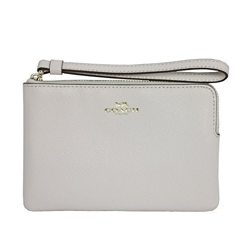 Coach Wristlet Leather Logo Zip Wallet (Chalk)