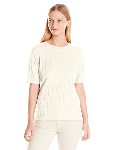 Alfred Dunner Women's Missy Short Sleeve Sweater Shell, Ivory, X-Large