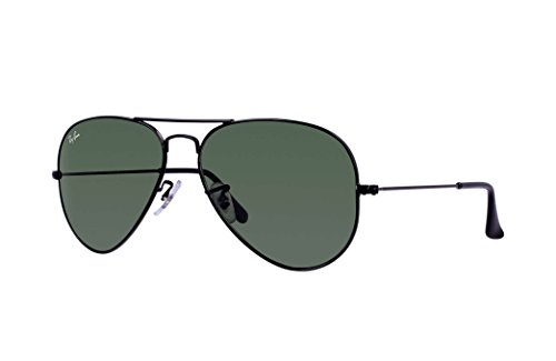 Ray-Ban RB3025 Aviator Large Metal Unisex Sunglasses (Black Frame/ Grey Green Lens L2823, 58)