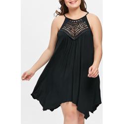 Plus Size Cutwork Trapeze Dress