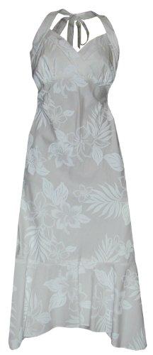 Pacific Legend Womens Elegant Tropical White Empire Halter Dress Wedding White L