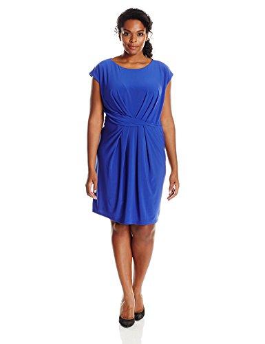 Adrianna Papell Women's Plus Size Solid Scoop Neck Cap Sleeve, Indigo, 14W