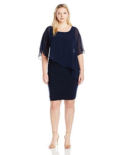 Adrianna Papell Women's Plus-Size Chiffon-Overlay Dress, Eclipse, 14W