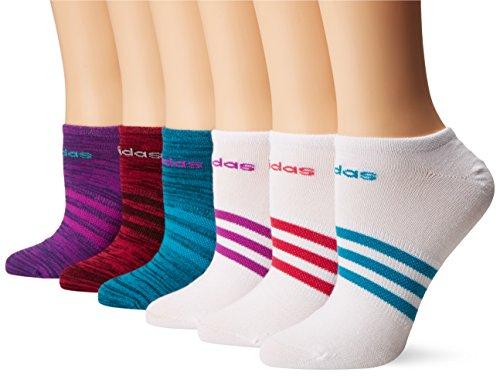 adidas Women's Superlite No Show Socks (6 Pack), Shock Purple/Space Dye/White/Shock Purple,Women's Sock Size (5-10)