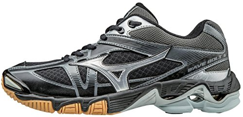Mizuno Women's Wave Bolt 6 Volleyball Shoe, Black/Silver, 9.5 B US