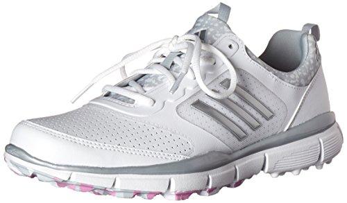 adidas Women's W Adistar Sport Golf Spikeless, FTWR White/Matte Silver/Wild Orchid-TMAG, 7 M US