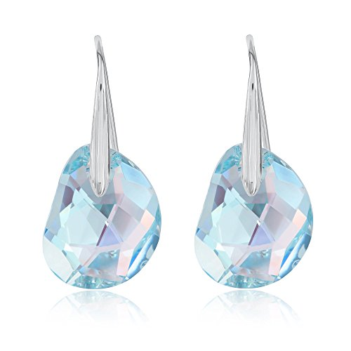 Swarovski Galet Light Azore Blue Crystal Pierced Earrings 949740