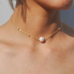 Simple choker Necklace Fashion Gold Color Chain Necklace with Freshwater Pearls for Women Jewelry