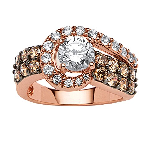 Round White and Chocolate Cubic Zirconia Rose Gold-Plated Sterling Silver Swirl Ring