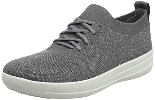 FitFlop Women's F-Sporty Uberknit Sneakers Charcoal/Metallic Pewter 9 M US