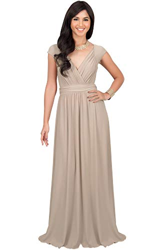 KOH KOH Plus Size Womens Long Cap Short Sleeve Cocktail Evening Sleeveless Bridesmaid Wedding Party Flowy V-Neck Empire Waist Vintage Sexy Gown Gowns Maxi Dress Dresses, Tan Light Brown 3XL 22-24