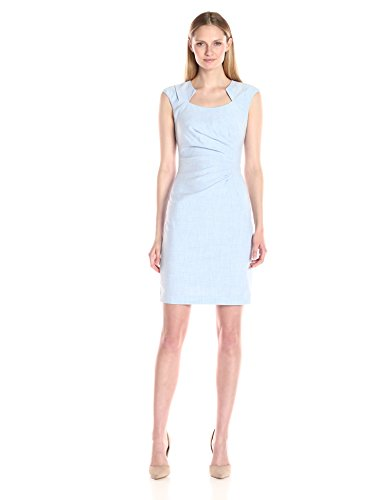 Calvin Klein Women's Cap-Sleeve Side-Ruched Sheath Dress, Regatta/White, 16