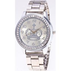 Rhinestone Crown Stainless Steel Watch