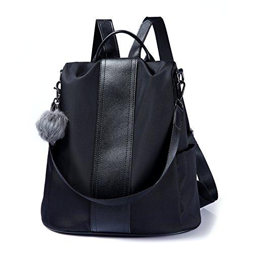 Women Backpack Purse Waterproof Nylon Anti-theft Rucksack Lightweight School Shoulder Bag (Black)