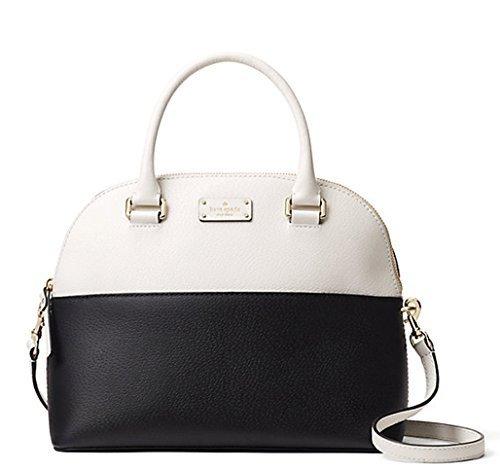 Kate Spade Grove Street Carli Leather Crossbody Bag Purse Satchel Shoulder Bag, Black Cement