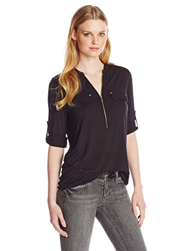Calvin Klein Women's Modern Essential Zip Front Roll Sleeve Blouse, Black, Medium