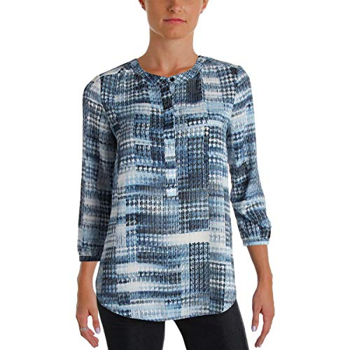 NYDJ Women's Abstract 3/4 Sleeve Henley Pleat Back Blouse, Lady Luck Houndstooth, X-Small