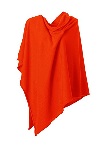 Anna Kristine Asymmetrical 100% Cashmere Draped Poncho Dress Topper – Sunrise Orange