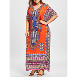 Plus Size V Neck Ethnic Print Poncho Dress