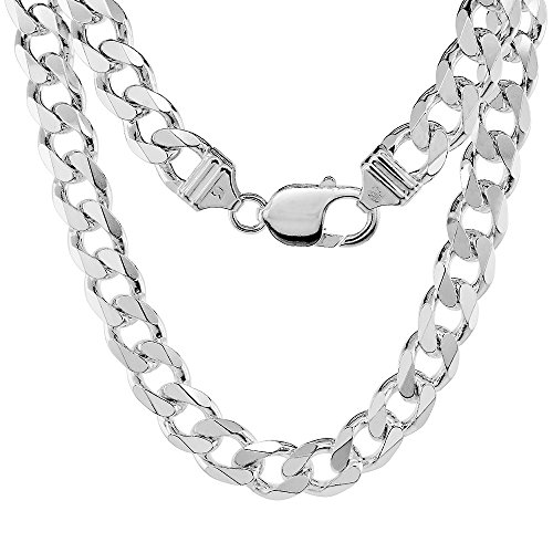Sterling Silver Thick Curb Cuban Link Chain Necklace 9mm Beveled Edges Nickel Free Italy 22 inch
