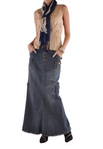 Style J Charming Cargo Long Denim Skirt-Blue-26(6)