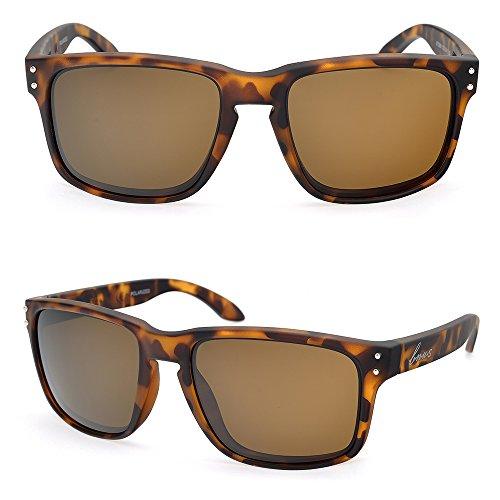 BNUS Italy made Classic Sunglasses Corning Real Glass Lens w. Polarized Option (Frame:Matte Tortoise/Lens: Brown B15, Polarized)