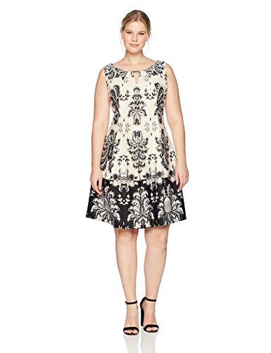 Gabby Skye Women's Plus Size Full Figure Tribal Printed a-Line Dress, Ecru/Black, 16W