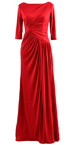 MACloth Women Half Sleeve Boat Neck Jersey Long Evening Gown Celebrity Dress (US12, Red)