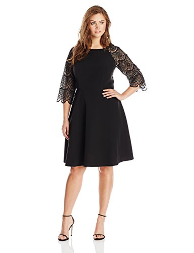 London Times Women's Plus-Size 3/4 Sleeve Lace Full Skirt Dress, Black, 20