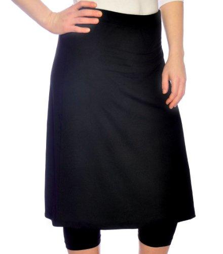 Kosher Casual Women's Modest Knee Length Sports Skirt With Leggings 18 Black