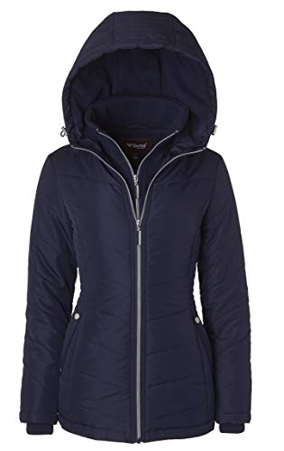 Women's Down Alternative Quilted Midlength Vestee Puffer Jacket Fleece Hood – Stormy Night (Small)