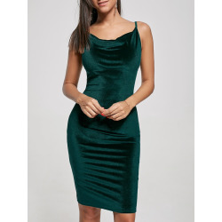 Bodycon Spaghetti Strap Velvet Dress