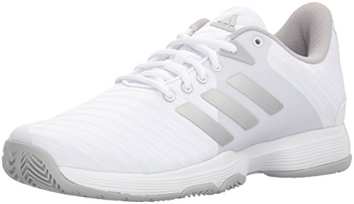 adidas Performance Women's Barricade Court w Tennis Shoe, White/Matte Silver/Grey, 10 M US