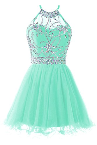 Musever Women's Halter Short Homecoming Dress Beading Tulle Prom Dress Light Mint US 10