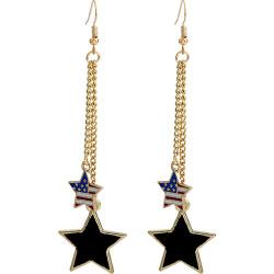 Double Pentagram American Flag Drop Earrings