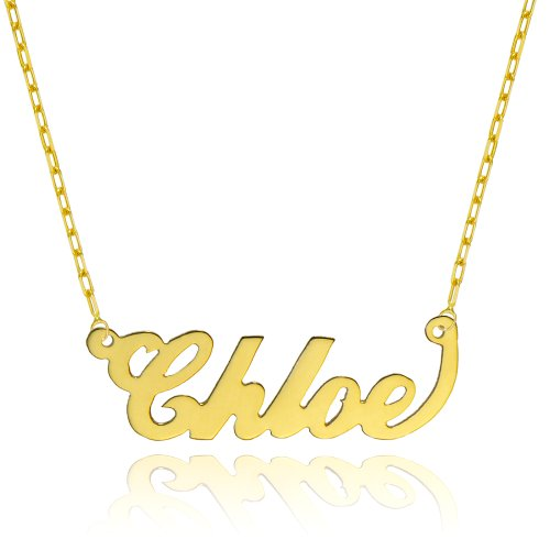 14K Yellow Gold Personalized Name Necklace – Style 1 (18 Inches, Elongated Cable Chain)