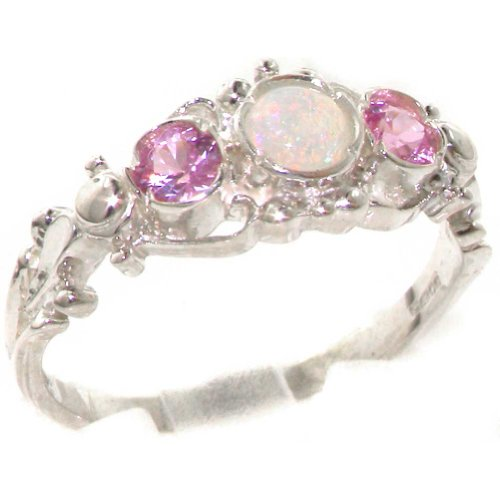925 Sterling Silver Real Genuine Opal and Pink Tourmaline Womens Band Ring – Size 12