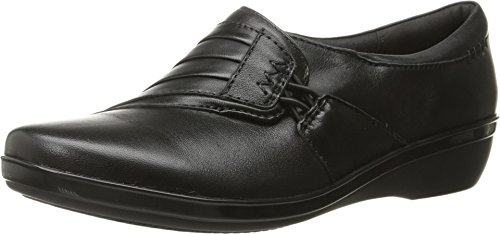 CLARKS Women's Everlay Iris Flat, Black Leather, 9 M US