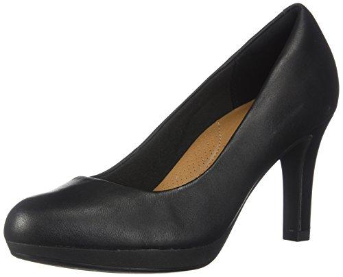CLARKS Women's Adriel Viola Dress Pump, Black Leather, 7 W US