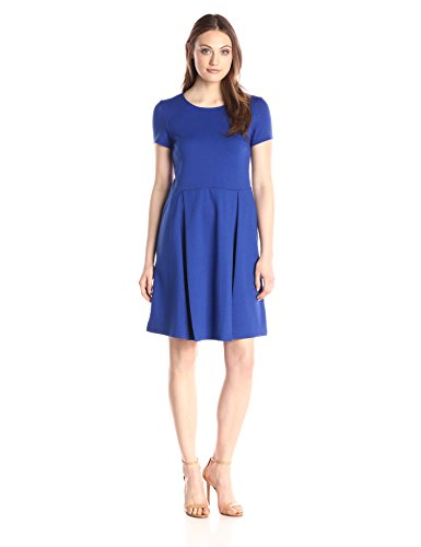 Lark & Ro Women's Short-Sleeve Soft Pleated Fit and Flare Dress, Cobalt, Medium