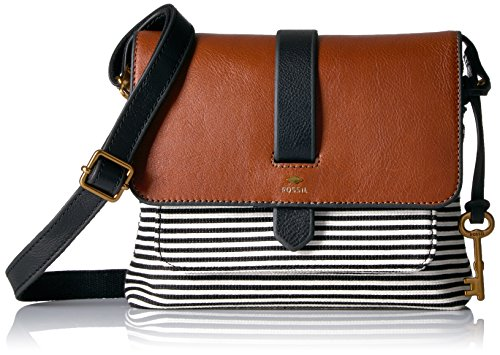 Fossil Kinley Small Crossbody Bag, Black Stripe