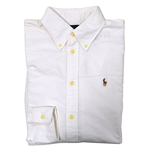 RALPH LAUREN Womens Oxford Classic Fit Button Down Shirt (White, Small)