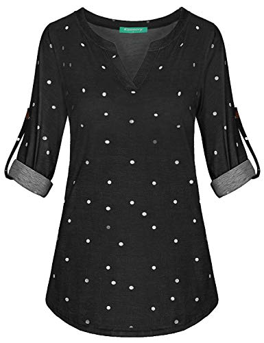 Kimmery Maternity Tops, Woman Fall Fashion 2018 Clothing Notch V Neck Henley Blouse Three Quarter Sleeve Baggy Casual Shirts to Wear with Leggings Soft Comfy Polka Dot Tunic Work Daily Black XX Large